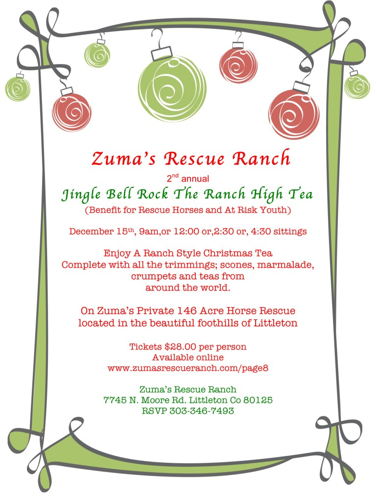 Christmas Tea, Horses, Zuma's Rescue Ranch, Colorado Christmas Events, High Tea,